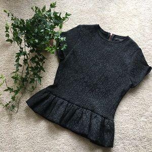 Zara W&B Collection Textured Peplum Top